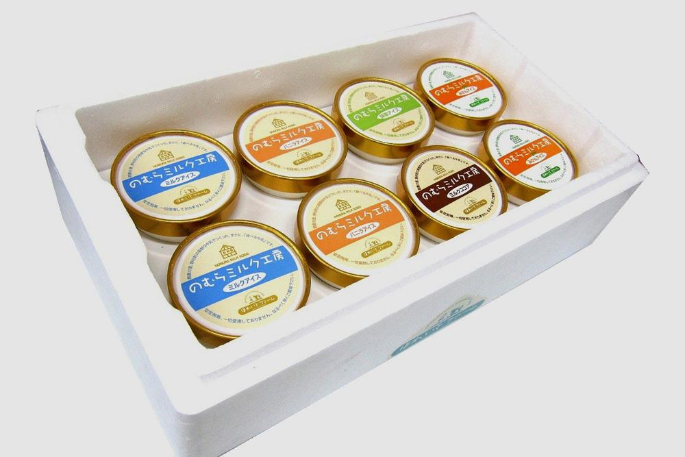 アイスクリーム8個入りセット(ミルク・バニラ・抹茶・ミルクココア各2個詰め合わせ)